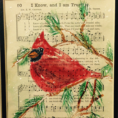 In the Spirit of Healing - Sit, Sip & Create Cardinal on Sheet Music
